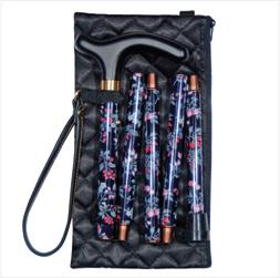 Classic Cane/Handbag Folding Black Floral